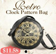 Retro Round Clock Pattern Cross-body Shoulder Satchel Handbag Women Cosmetic Bag