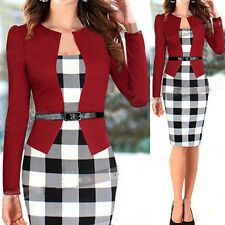 Sexy Women Long Sleeve Slim Plaid Bodycon Cocktail Party Evening Pencil OL Dress
