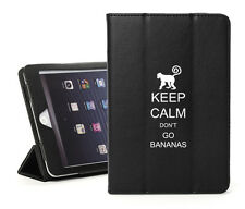 For iPad 2 3 4 Air Mini Leather Smart Case Keep Calm Don't Go Bananas Monkey