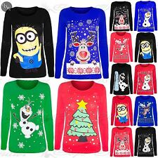 CLEARANCE SALE Womens Ladies Christmas Olaf Frozen Reindeer Minion T Shirt Top