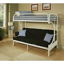 Twin Over Full Futon Metal Bunk Bed Kids Furniture Loft Bedroom Beds Ladder NEW