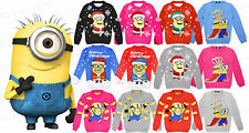 Boys Girls Kids Minion Despicable Christmas Xmas Retro Novelty Jumper Knitted