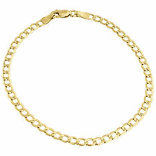 Mens or Ladies 10k Yellow Gold Flat Cuban Curb 3.75 mm Link Bracelet 8-10 Inches