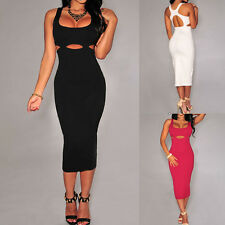 New Black Cut-out Accent Sleeveless Evening Cocktail Party Night Club Midi Dress