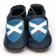 Inch Blue Baby Girls Boys Luxury Leather Soft Sole Pram Shoes - Saltire