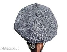 Men's Hat Eight Panel News boy Baker boy Hat Herringbone Tweed Cap Grey