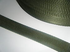 "POLYPROPYLENE STRAPPIING WEBBING 1"" 25mm - BLACK OR KHAKI  2 or 5 metre lengths"