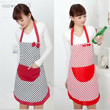 New Womens cute Kitchen BowKnot Restaurant Bib Cooking Aprons With Pocket Gift