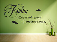 Family love never ends wall decal mural sticker transfer vinyl wall decor