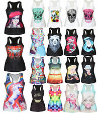 Women Casual 3D Graphic Printed Vest Blouses Gothic Punk Clubwear T-Shirts Tops