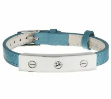 Stainless Steel Leather Band Bracelet with Crystal Bar Station QVC Customer Pick