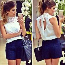 Women Lace Chiffon T Shirt Blouse Backless Sheer Sleeveless M-XL Crochet CaF8
