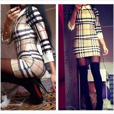 Winter Slim Doll Collar Min Pencil Dress Women's casual Plaid skirt Vestidos
