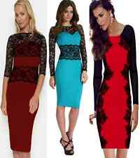 Ladies Long Sleeve Sexy Lace Bodycon Evening Party Cocktail Dress
