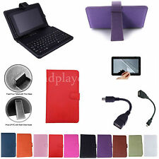 """7 inch Keyboard PU Case Cover+Free Film For 8"""" Verizon Ellipsis 8 4G LTE Tablet"""