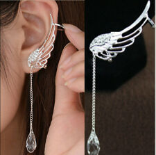 Crystal Silver Plated Earrings Drop Dangle Angel Wing Ear Stud Cuff Clip 2 color
