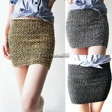 Mini Dress Pencil Skirt Women Sequin Bodycon Shiny Glitter Sexy Party Cocktail C