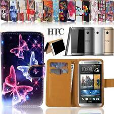 Folio Wallet Card Stand Magnetic Leather Case Cover For HTC Phones + Handstrap