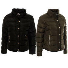 Womens Ladies Padded Quilted Puffer Winter Coat Bommer Jacket Parka Khaki Black