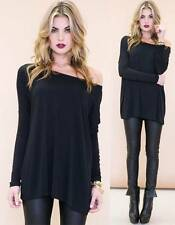 Black Long Sleeve Boat Neck Piko Bamboo Oversized Boxy Loose Tunic Top Cute NWT