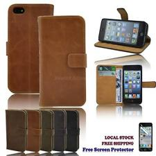 New PU Leather Wallet Stand Case Cover for iPhone 5 / 5s FREE SCREEN PROTECTOR