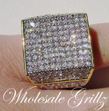 NEW!! HUGE $259 MENS XXL 14K GOLD GP SIMULATE DIAMOND ICED OUT HIPHOP PINKY RING