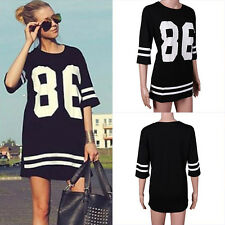Womens Celeb Oversized 86 American Baseball Tee T-shirt Top Varsity Loose M L XL