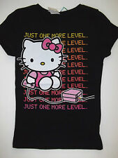 NWT Girl's Kid's  HELLO KITTY T-SHIRT Tee Black M  Just One More Level