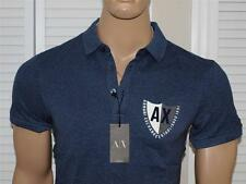 Armani Exchange Short Sleeve Crest Polo Shirt Navy Heather NWT