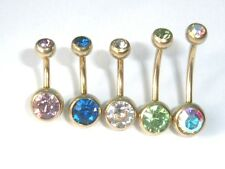1.6mm x 6mm 8mm 10mm 14mm GOLD TITANIUM DOUBLE CRYSTAL JEWELLED BELLY NAVEL BAR