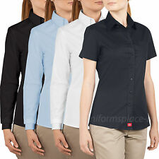 Dickies Shirts Womens Juniors' Fit Short / Long Sleeve Button-Down Oxford Top