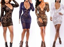 Hot Hollow out Long Sleeve V-Neck Sexy Lingere Sexy mini Club Dress D421 4color