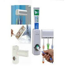 Automatic Toothpaste Dispenser + 5 Toothbrush Holder Set Wall Mount Stand Cool