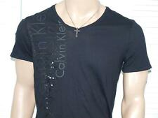 CALVIN KLEIN Multi Rubber Logo V neck T Shirt Black NWOT