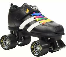 Black Riedell Volt Quad Derby Speed Roller Skates w/ Bonus Laces Rainbow & White