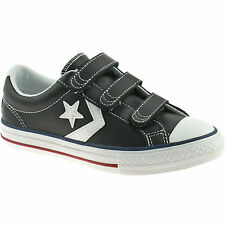BOYS CONVERSE LEATHER VELCRO TRAINERS SIZE 3 - 5 STAR PLAYER EV BLACK 637316C