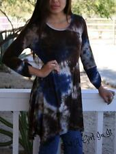 PLUS SIZE NAVY BLUE BROWN TIE DYE DYED 3/4 SLEEVE SHIRT TUNIC TOP XL 1X 2X 3X
