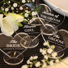 Wedding Table Decorations - Place Setting Name Plaques - Clear