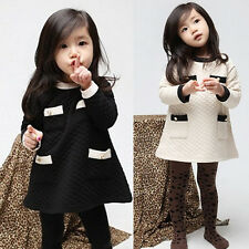 Fashion Baby Girls Dress Winter Children Kids Clothes Dress Thick Warm FT190