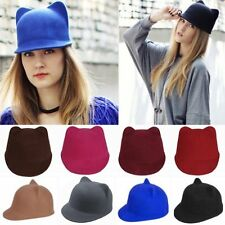 Stylish Women Winter Cute Kitty Cat Bear Ears Devil Hat Wool Derby Bowler Cap