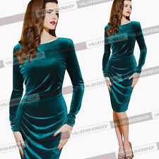 Sexy Green Women's Velvet Round Neck Long Sleeve Solid Cocktail Midi Party Dress