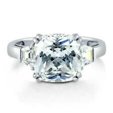 BERRICLE 925 Silver Cushion Cubic Zirconia CZ 3-Stone Engagement Ring 5.92 Carat
