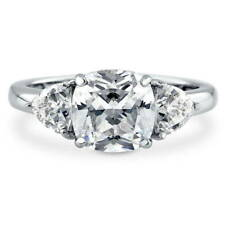 BERRICLE Sterling Silver Cushion Cut CZ 3-Stone Engagement Ring 3.84 Carat