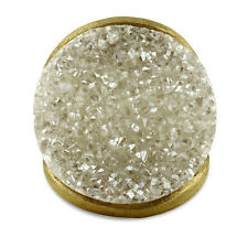 BERRICLE Gold-Tone Round Cut White Druzy Quartz Fashion Right Hand Cocktail Ring