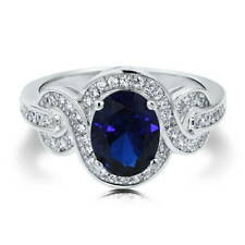 Silver Oval Simulated Sapphire CZ Solitaire Woven Engagement Ring 2.12 CT