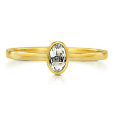 BERRICLE 10K Yellow Gold Oval Cut Topaz Solitaire Ring
