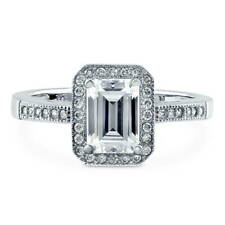 BERRICLE Sterling Silver 1.18 Carat Emerald Cut CZ Halo Promise Engagement Ring
