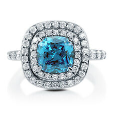 BERRICLE Silver Cushion Simulated Blue Topaz CZ Halo Right Hand Cocktail Ring