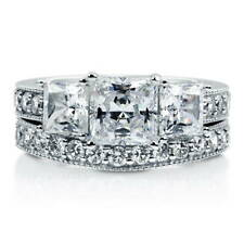 BERRICLE Sterling Silver Princess CZ 3 Stone Art Deco Engagement Ring Set