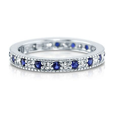 BERRICLE 925 Silver Simulated Blue Sapphire CZ Eternity Band Ring 0.64 Carat